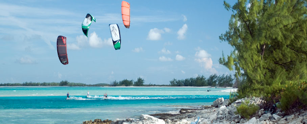 picture of kiteboarders catching the trade winds on the caribbean in turks and caicos