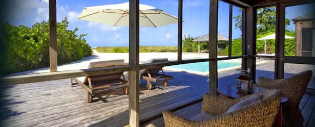 View of private pool from patio at the Rocky Point Villa on Turks and Caicos