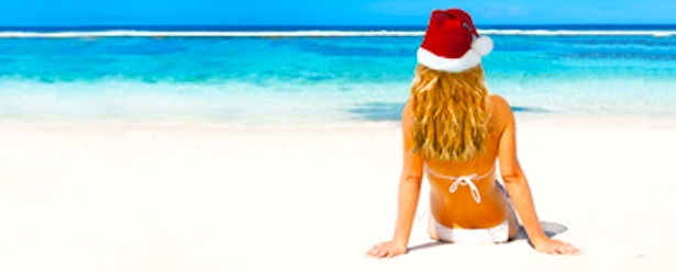 Lady with a Santa Hat during the holidays in Turks and Caicos