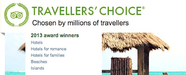 Trip Advisor's Travellers' Choice Awards 2013 Turks and Caicos